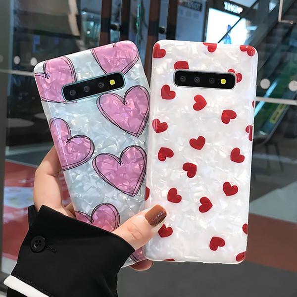 Pour Samsung Note 8 9 Mode Conch Shell Couverture de Téléphone Pour Samsung Galaxy S8 S9 S10 Plus Dessin Animé Amour Coeur Coeur Étuis Doux