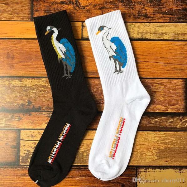 19SS Heron Preston maré garra guindaste guindaste impressão algodão europeus e americanos rua Harajuku longo tubo homens e mulheres meias