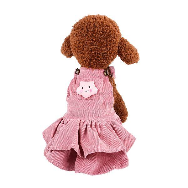 2019 New Hot Sale Bichon Dog Autumn and Winter Corduroy Clothing Pet Clothes Strap Skirt T-shirt Sets