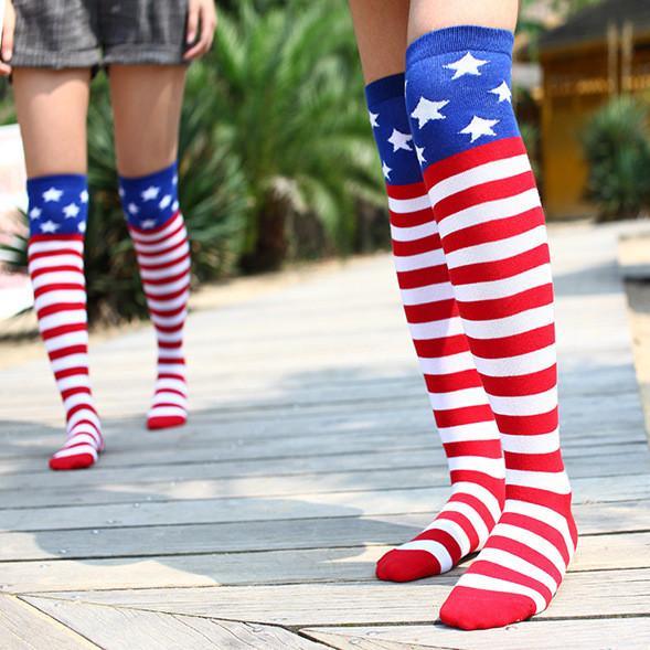 fc7f62781 mens women designer socks sock American flag striped five-pointed star high  socks sport hip hop street dance long tube over knee socks