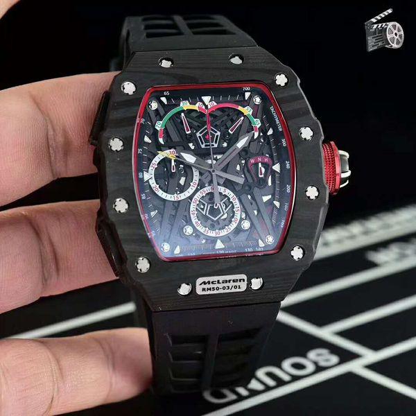 New 45mm luxury Mens Watch 50-03 Watch Swiss Quartz Chronograph Skeleton Dial Black Carbon Fiber Case Sapphire Senior Rubber Strap