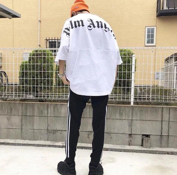 2019 Best Fashion Palm Angels Oversize T Shirt Hip Hop Solid Color Palm Angels Big Letter Printing Top Tees Black Cotton T-Shirt