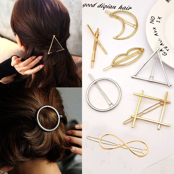 Moda Mujer Accesorios para el cabello Triángulo Pinza para el cabello Pin Metal Aleación geométrica Hairband Moon Circle Hairgrip Barrette Girls Holder