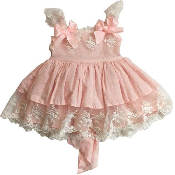Bebek Bebek Elbiseleri Lolita Vintage İspanyol Kız Doğum Günü Pembe Dantel Elbise Set 1st 2nd Doğum Günü Kıyafetleri Kızlar için Prenses Frocks