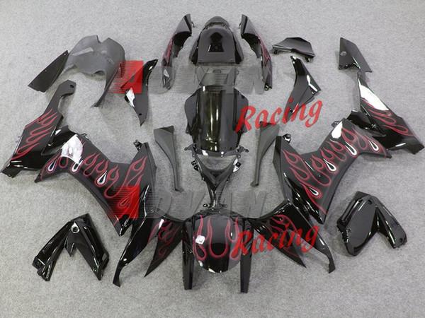 3Gifts Neues ABS-Motorrad-Fahrrad-Verkleidungs-Kit Fit für Kawasaki Ninja ZX-10R ZX10R 2008 2009 2010 08 09 10 10R Bodywork Set benutzerdefinierte rote Flamme