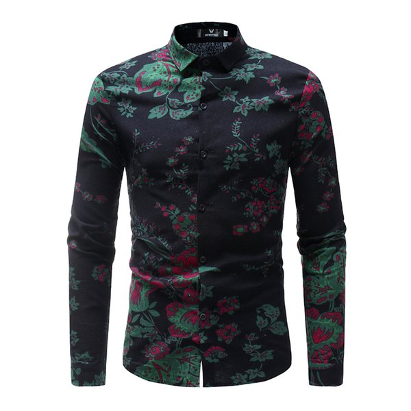 Brand 2019 Hot Sale Fashion Male Shirt Long-sleeves Tops Floral Print Mens Dress Shirts Slim Men Shirt Black Plus Size Xxxl