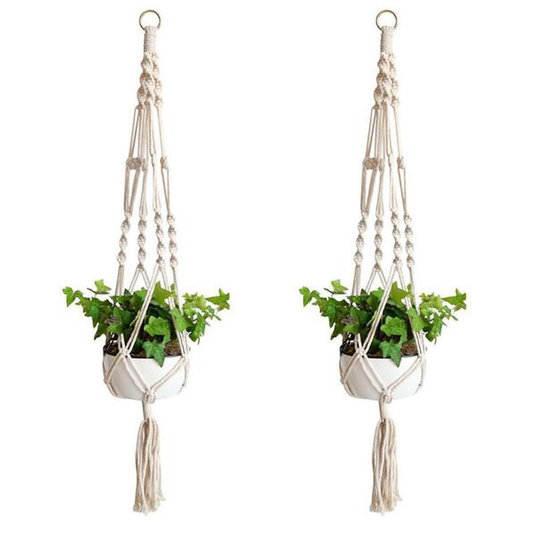 Natural Fine Cordage Planter Holder Basket Macrame Plant Hanger Hook Flower Pot Handmade Knitting Home Garden Balcony Decoration FFA2045