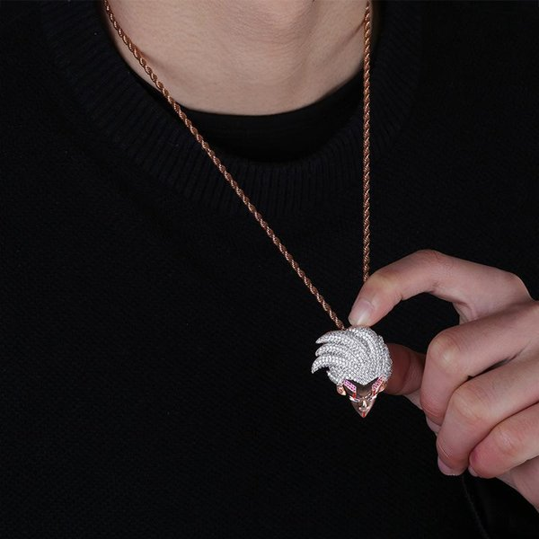 Anime Dragon Ball Character Baby Pendant Necklace Men Necklaces 18K Gold Plated Ice Out Hip Hop Jewelry