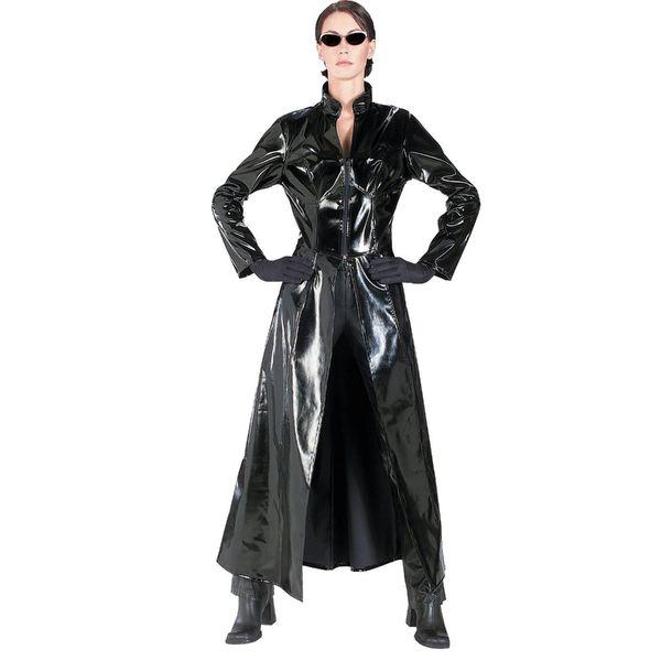 2019 Nouveau Sexy PVC noir Catsuit Catwoman Vinyle Latex Faux cuir Manteau long La robe matrice cosplay Clubwear