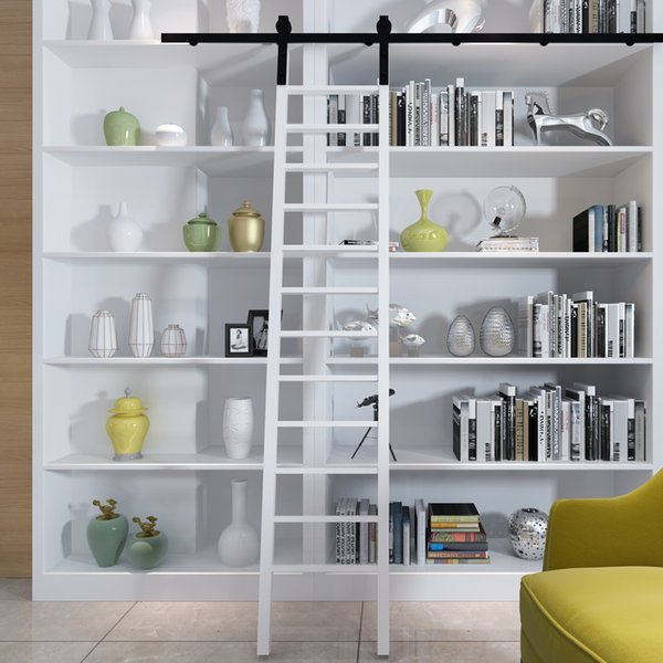 top popular 6ft 8ft 10ft Rustic Quiet Glide Rolling Library Ladder Kit Sliding Track Black Rolling Library Hardware 2021