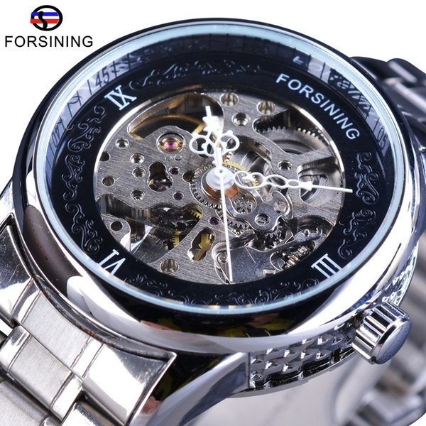 Forsining Silver Stainless Steel Pattern Dial Design Open Work Skeleton Mens Mechanical Wrist Watches Top Brand Luxury Automatic SLZb39