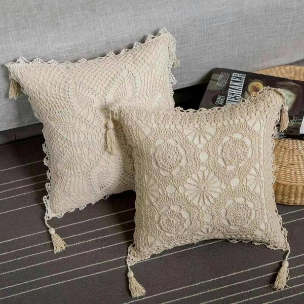 Square Village hand made Crocheted tassel pillow Cushion Cover 45 cm Great Fashion Home Decoration white Ivory