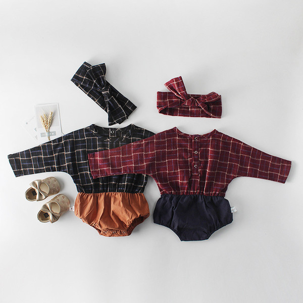 New Arrivals Baby Girls Clothes Bodysuits Spring Fashion Long Sleeve Cotton Plaid Baby Jumpsuits Rompers With Headbands Newborn Clothing