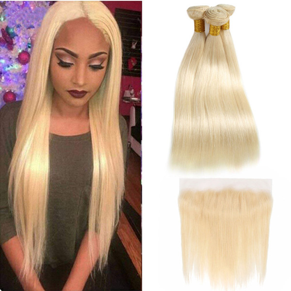 malaysian unprocessed human hair extensions 13x4 lace frontal silky straight 8-28inch 13*4 frontal with bundles 613 blonde natural color