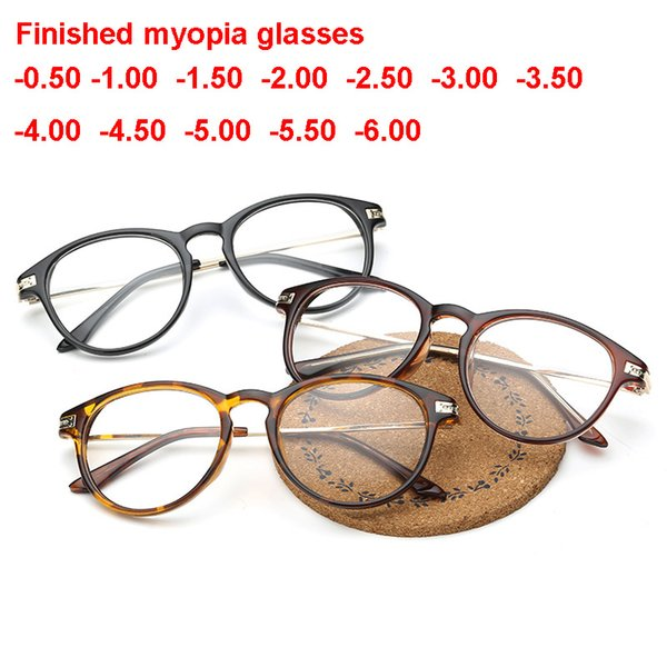 Lunettes rondes optiques rondes force négative de prescription de lunettes correctrices Puissance -0.50 -1.00 -1.50 -2.00 Femmes Hommes Lunettes de Vue