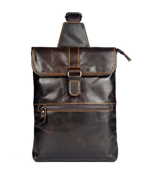 Men First Layer Cowhide Genuine Leather Travel Messenger Shoulder Sling Day Pack Chest Casual Flat Bag