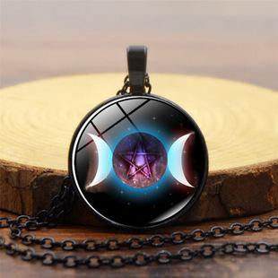New Triple Moon Pattern Pendant Necklace Moon Series Time Gemstone Necklace Fashion Men's and Women's Apparel Accessories