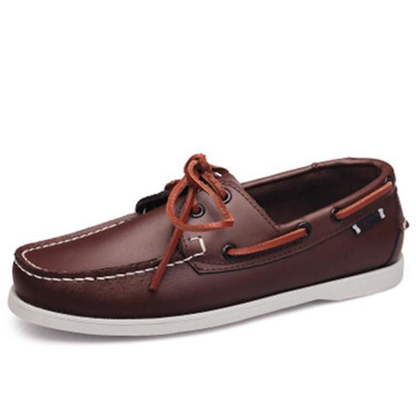 Cuoio genuino uomini scarpe casual scarpe nappa barca Mocassini Classic Slip On scarpe mocassini Grey guida l'Inghilterra