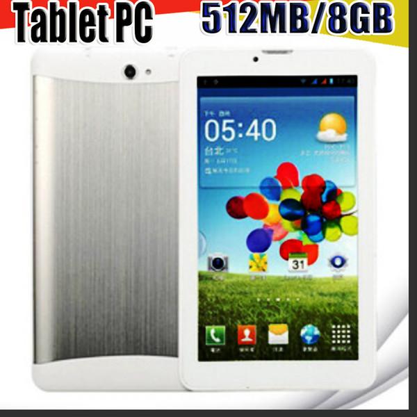 top popular 168 DHL 7 inch 3G Phone Call Tablet PC Android 4.4 MTK6572 512MB RAM 8GB ROM Dual Core 1.2GHZ Dual Camera GSM WCDMA GPS Blutooth B-7PB 2021