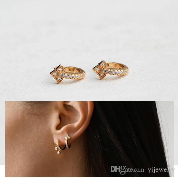cz vermeil gold mini hoop earring 10mm small hoops minimal dainty delicate 925 sterling silver women earring