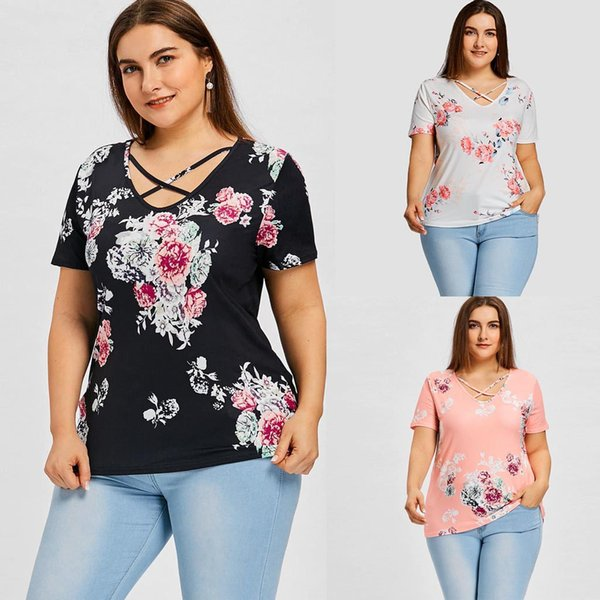 camisetas verano mujer 2019 Женская Плюс Размер Повседневная V-образным вырезом с короткими рукавами с цветочным принтом Изогнутый подол Футболка Топ Женская одежда 40