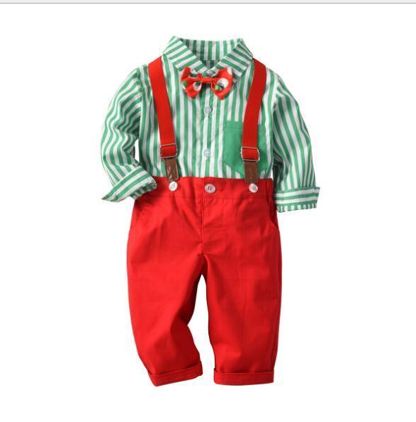 2019 en iyi Noel çocuk takım elbise erkek çizgili baskılı papyon ve arka kemer pantolon iki parçalı fabrika doğrudan satış satış Yeni
