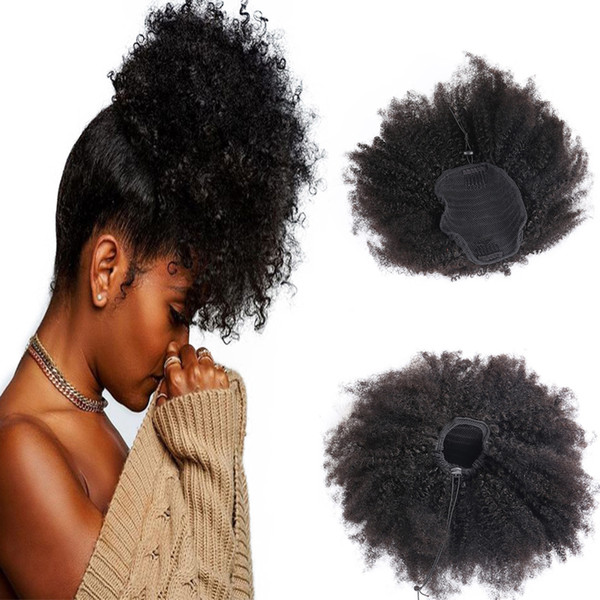 Afro Kinky Curly Human Hair Ponytail Natural black color Brazilian Hair Extensions Slik Straight Clip on Ponytail 100g
