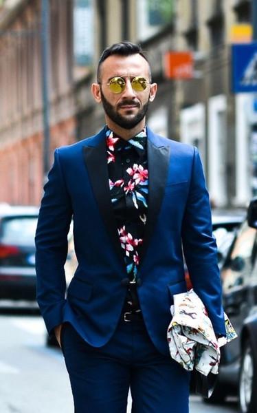 Latest Coat Pant Designs Royal Blue Jacket Men Suit Prom Tuxedo Slim Fit 2 Piece Custom Groom Fashion Blazer Terno Masculino (jacket+pants)