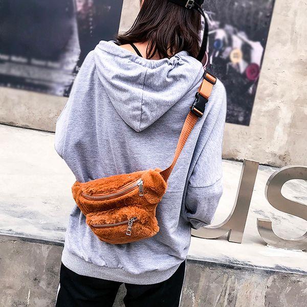 Bolso de hombro de las mujeres de moda bolsa de pecho de felpa paquetes de cintura chica color puro con cremallera bolsa de mensajero de peluche bolsos de cintura de pecho bolsos