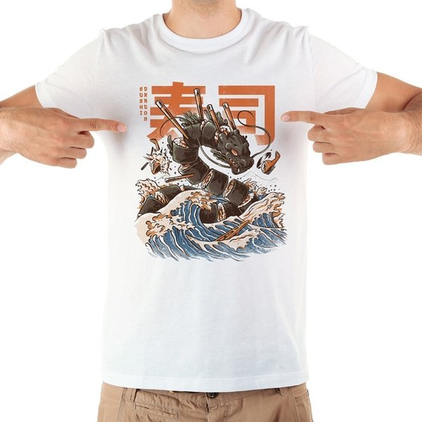 T-shirt divertente da uomo anime giapponese Great Sushi Dragon 2018 nuova maglietta casual homme casual bianca a maniche corte bianca estiva