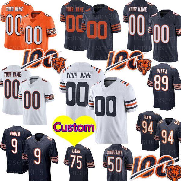 Cualquier nombre / número de Chicago # oso Jersey personalizado 40 Gale Sayers 9 Robbie Gould 89 Ditka 94 Leonard Floyd 75 Kyle Long fútbol jerseys