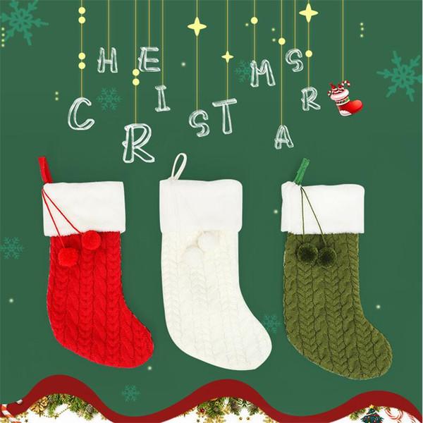 Moda Örgü Sevimli Noel Çorap Trendy Yumuşak Dokunmatik Festivali Süs Çorap Klasik Tasarımcı Charm Dekoratif Noel Günü Çorap