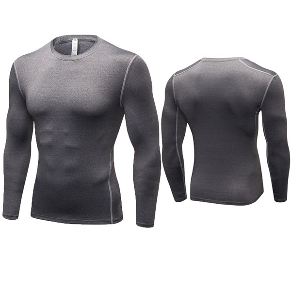 Men Compression T-shirt Quick-Dry Long Sleeve Running Training Yoga Gym Fitness Tight Tops Breathable Bodybuilding Clothes S-XXXL