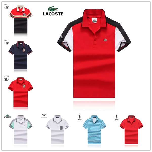 2019 19SS Brand Striped Polos Para Hombre England Men Short Sleeve Camisa  Polo Masculina Breathable Casual Loose Cotton Blended Polo Homme From