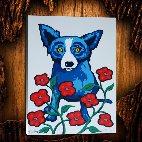 Blue Dog A Chorus Line of Flowers,1 Pieces Canvas Prints Wall Art Oil Painting Home Decor (Unframed/Framed) 24X32.