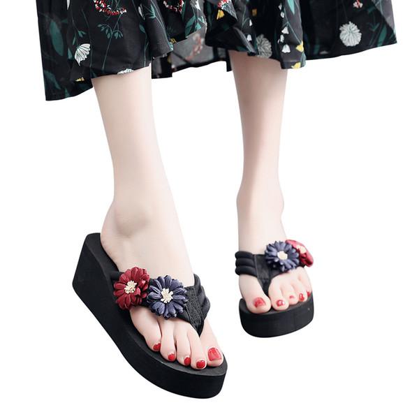 2019 Yeni Ayakkabı Kadın Terlik kadın Bayanlar Yaz Çiçek Ev Takozlar Plaj Ayakkabı Sandalet Çevirme Terlik Zapatos De Mujer