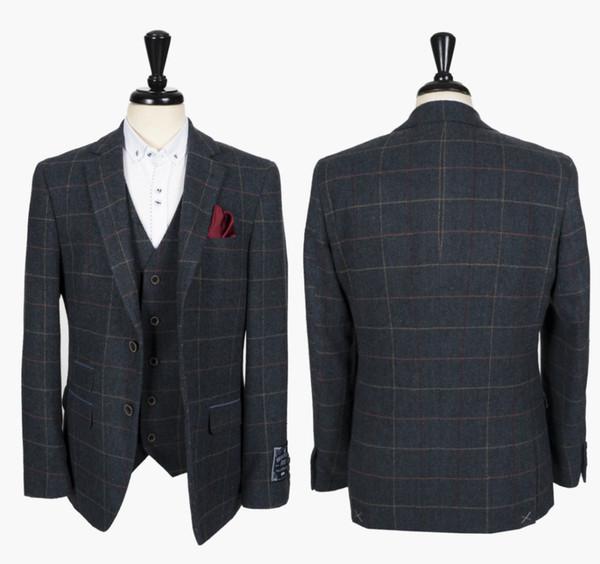 Bleu Check Tweed Blazer Hommes Rechercher Tailored Costumes Costumes de mariage pour le meilleur des hommes de bal 2020 Vêtements Les smokings marié Custom Made