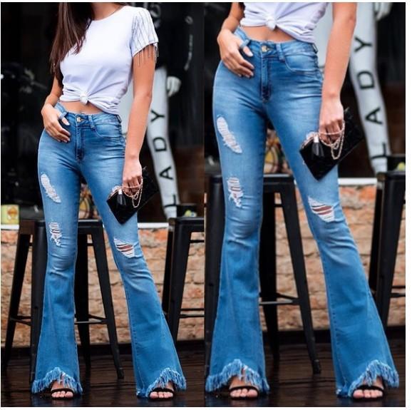 Flare Jeans Für Frauen Denim Dünne Jeans Frau Weibliche Hohe Taille Quaste Washed Denim Hosen Plus Größe 3XL