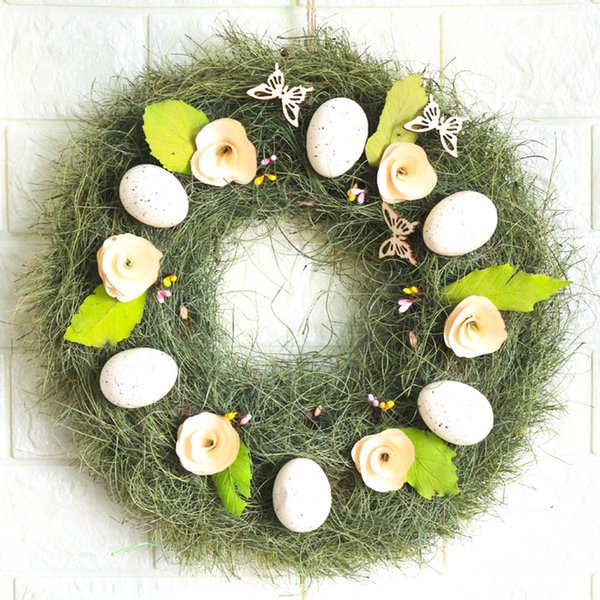 Frühling Kranz Home Decoration Ostern Dekore für Tür Kranz Grün Sommer Frühling Ei Kränze Hochzeit rustikale Ostern Dekor