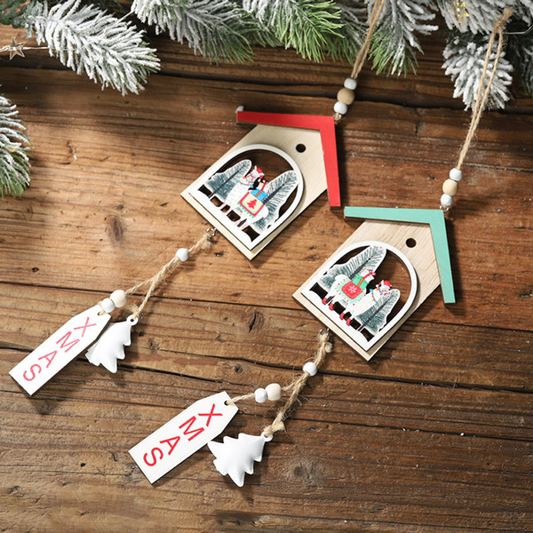 christmas wooden alpaca pendants ornaments xmas tree hollowe ornament diy wood crafts kids gift for home new year decorations
