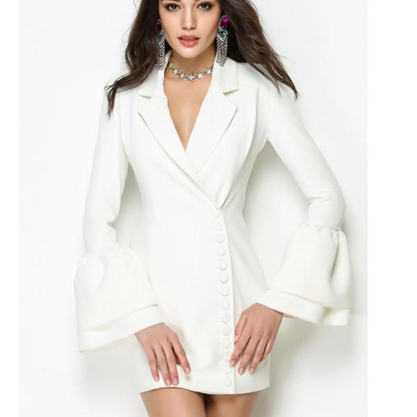 #2795 Spring Summer Blazer Dress Women Fashion Black/White Mini Sex Suit Dresses Femme Flare Sleeve Sleeve Elegant Office Dress