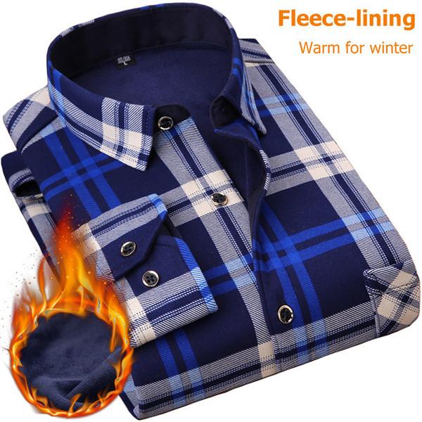 Nigrity 2019 New Men's Long Sleeve Plaid Warm Shirt Thick Fleece Lining Shirt Fashion Soft Casual Flannel Shirt Plus Size L-4xl Y190506