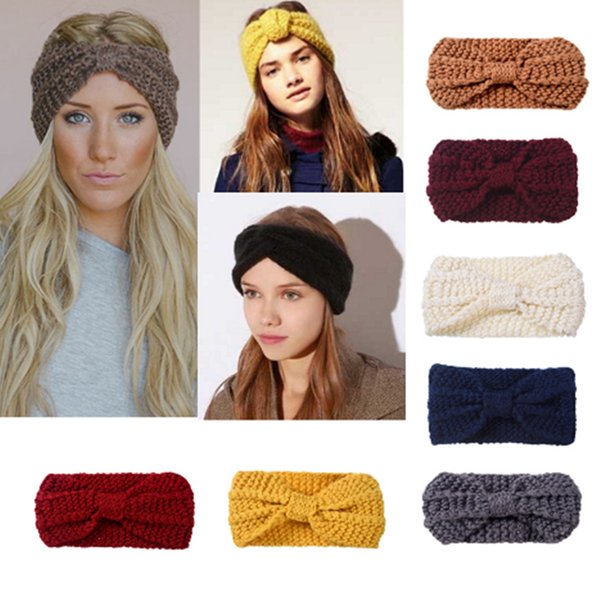 Lady Cozy Thick Knit Headband Turban Ear Warmer For Women Winter Headband Bow Stretch Hairband Headwrap Hair Accessories LE185