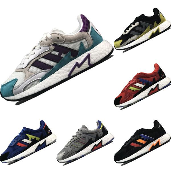 Avec la boîte 2019 Tresc Run Flame Mesh Chaussures de course respirantes Tresc Flame Buffer Buffer Mousse et Crystal Rainbow Chaussures de sport en caoutchouc