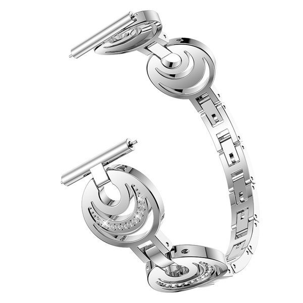 2019 Watchbands Crescent Crystal Metal Watch Band Wrist Strap For Samsung Galaxy Watch 46mm Fashion Luxury Women Belts