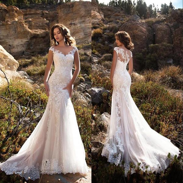 Abiti da sposa eleganti sirena di pizzo abiti da sposa abiti da sposa con bottoni