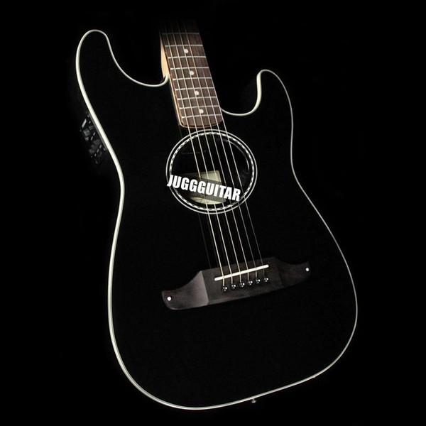 Solid Mahogany Top ST Stratacoustic Standard Black Acoustic Electric Guitar Checkerboard Rosette, Rosewood Fretboard & Bridge, Vintage Tuner