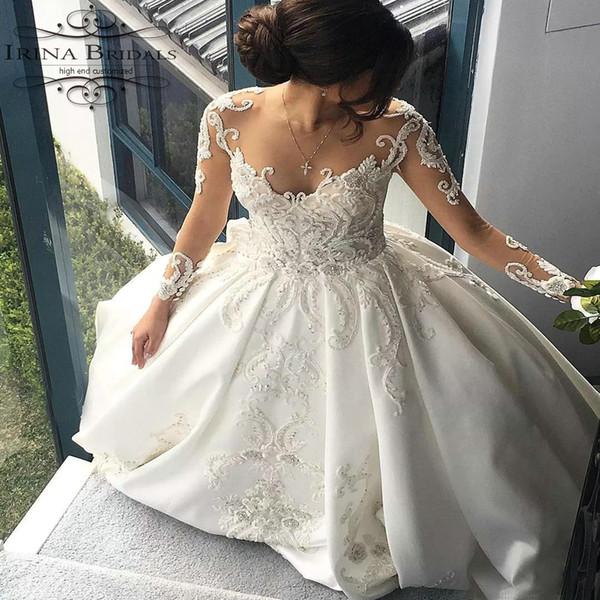 vestido де noiva с длинным рукавом кружева аппликация роскошь видеть сквозь обратно свадебное платье