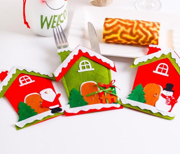 12 Adet Santa Şapka Ren Geyiği Noel Yeni Yıl Cep Çatal Bıçak Çatal Tutucu Çanta Ev Partisi Masa Yemeği Dekorasyon Sofra