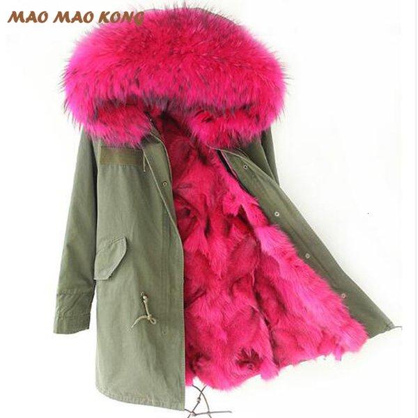 2019 nuova giacca invernale verde militare lunga outwear donna parka spesso vera fodera in pelliccia di volpe naturale collo in procione cappotto con cappuccio pellicci Y190906